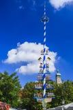 Maypole on Viktualienmarkt, Munich, Bavaria, Germany stock image