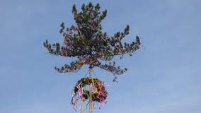 Maypole in wind stock video