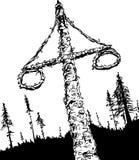 Maypole y bosque suecos resumidos del pleno verano stock de ilustración