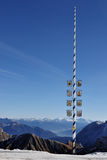 Maypole at the Zugspitze glacier Royalty Free Stock Images