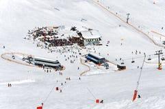 Mayrhofen滑雪中心在奥地利阿尔卑斯 免版税图库摄影