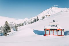 Cable car in beautiful snow-covered winter mountains at mayrhofen ski resort, austria. MAYRHOFEN, AUSTRIA - FEBRUARY 19, 2018: cable car in beautiful snow stock photos