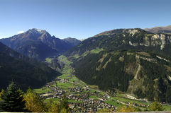 Mayrhofen birdview. Mayrhofen in Austria seen from a near vistapoint, in the background the valley Tux Stock Images