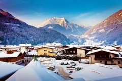 Mayrhofen winter resort in Austria Stock Photos