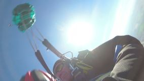 Tandem Skydiving. The moment of opening the parachute. Tandem Jump. Free Fall. MAYSKOE, DNEPR, OKTOBER 14, 2018: Tandem Skydiving. The moment of opening the stock video