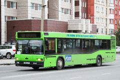 MAZ 103. Novyy Urengoy, Russia - August 9, 2012: Urban bus MAZ 103 in the city street stock images
