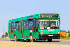 MAZ 104. NOVYY URENGOY, RUSSIA - JULY 18, 2013: City bus MAZ 104 in the city street Stock Photo