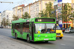 MAZ 103. PERM, RUSSIA - AUGUST 7, 2010: Urban bus MAZ 103 in the city street stock photo