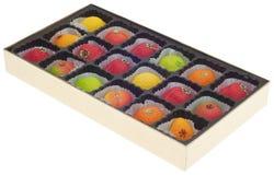 Mazapán colorido en dimensiones de una variable de la fruta Imagen de archivo