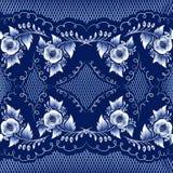 Mazarine. Seamless mazarine floral pattern in gzhel style. Vector illustration Royalty Free Stock Photos
