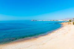 Mazarron海滩在地中海的穆尔西亚西班牙 免版税库存图片