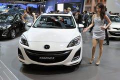 Mazda 3 auf Bildschirmanzeige an einem Car Show in Bangkok Lizenzfreies Stockbild