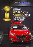 Mazda 3 bil på New York den internationella auto showen 2014 Royaltyfria Foton