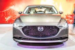 Mazda 3 fj?rde utveckling, kompakt bil som tillverkas i Japan av Mazda royaltyfri bild