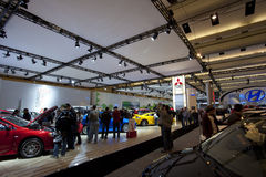 Mazda and Mitsubishi exhibits at 2010 Autoshow Royalty Free Stock Photography