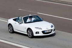 Mazda MX-5 Roadster on the road Royalty Free Stock Images