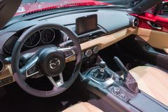Mazda mx-5 Miata op vertoning tijdens La Auto toont Stock Foto