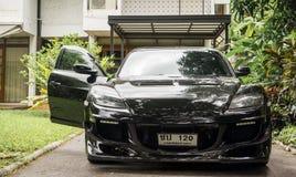 Mazda RX8 jest ubranym Volk promieni TE37 obręcza Złotych 18 cali Zdjęcia Stock