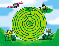 Crop circle maze. Maze:Dr Maya want to unrael the mysteries of crop circles, but he must first go through a corn maze vector illustration
