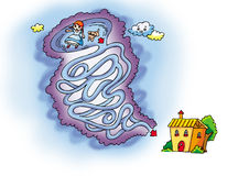 Tornado maze. Maze:Tornado rolled the much rosie and toto in the sky,they want to go home Royalty Free Stock Image