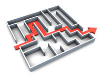 Maze. 3d illustration of succefull completed maze with red track arrow Stock Photography