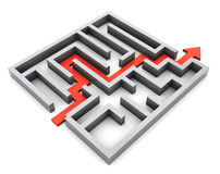 Maze. 3d illustration of right route and maze, over white background Royalty Free Stock Images
