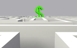 Maze. 3d render of dollar in the middle of a maze Royalty Free Stock Photography