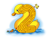 Maze 2. Maze:the little duck save little rooster Royalty Free Stock Images