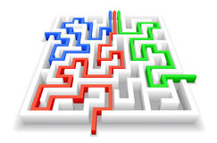Maze. Passage of the maze is shown in the image Royalty Free Stock Photography