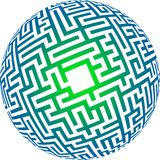Maze. How to find the way through a spherical maze Royalty Free Stock Photography