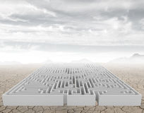 The maze. A complicated maze in a arid desert Royalty Free Stock Images
