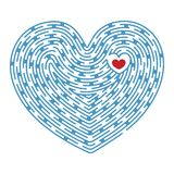 Maze. Heart shape labyrinth with small heart in center royalty free illustration