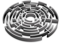 Maze 3D. 3d maze with circle shape Royalty Free Illustration