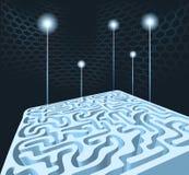 maze 3D med raket Vektor Illustrationer