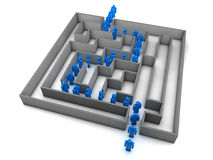Maze. Blue Business man found a way through a maze. Isolated 3d concept Stock Photography