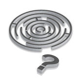 Maze. With Question? & 3D render stock illustration