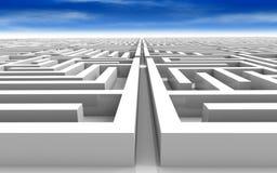 Maze. 3D rendered illustration vast maze under a blue sky Royalty Free Stock Image