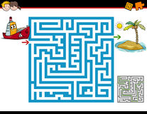 Maze activity for children. Cartoon Illustration of Education Maze or Labyrinth Activity Task for Children with Ship and Island Stock Photo