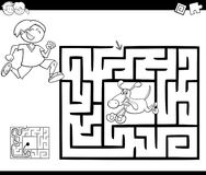 Maze activity game with boy and dog Royalty Free Stock Photography