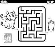 Maze activity game with cat and milk Royalty Free Stock Photography