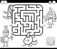 Maze activity game with fantasy characters Stock Image