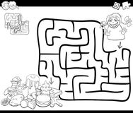 Maze activity game with girl and sweets Royalty Free Stock Photo