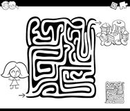 Maze activity game with girl and sweets Royalty Free Stock Photography