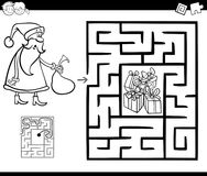 Maze activity game with Santa Claus Stock Photo