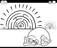 Maze activity game with sleeping bear. Black and White Cartoon Illustration of Education Maze or Labyrinth Game for Children with Sleeping Bear Animal Character Royalty Free Stock Photography