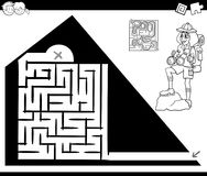 Maze activity game with traveler and pyramid Stock Photos