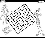 Maze activity game with young couple Stock Image