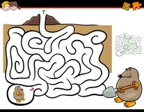 Maze activity with mole animal. Cartoon Illustration of Education Maze or Labyrinth Activity Game for Children with Mole Animal Character Stock Photo