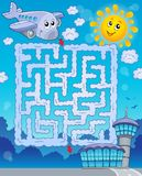 Maze 2 with airplane Royalty Free Stock Images