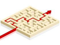 Maze with arrow. Red arrow going through the maze. path across a labyrinth Royalty Free Illustration